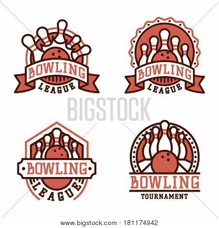 Vector bowling logo emblem and design element logotype template badge item design for sport league teams success equipment champion illustration. Tournament skittles activity goal game.