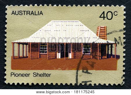 AUSTRALIA - CIRCA 1972: A used postage stamp from Australia depicting an image of a shelter used by a Pioneer ancestor circa 1972.
