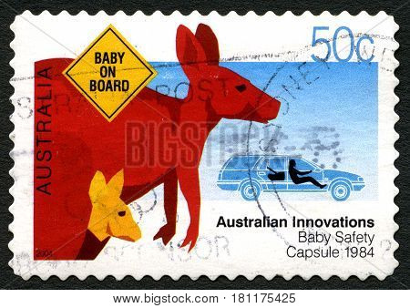AUSTRALIA - CIRCA 2004: A used postage stamp from Australia celebrating Australian Innovations - this one commemorating the Baby Safety Capsule circa 2004.
