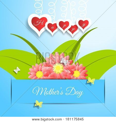 Happy Mother's Day vector paper craft on the gradient blue background with red flowers and green leafs insert in the blue paper pocket hearts butterflies and text.