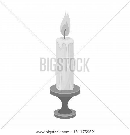 burning candle from paraffin wax. Easter single icon in monochrome style vector symbol stock web illustration.