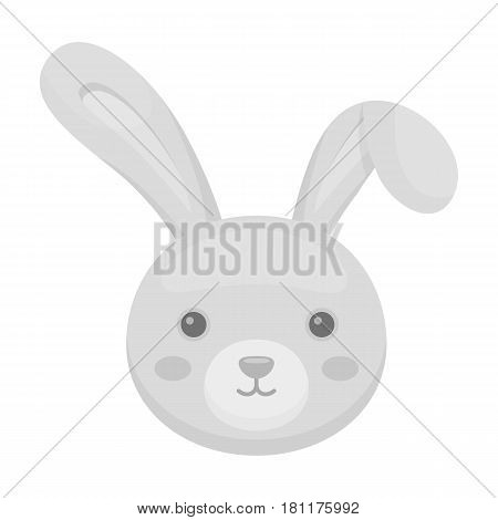 Grey rabbit with long ears. Easter single icon in monochrome style vector symbol stock web illustration.
