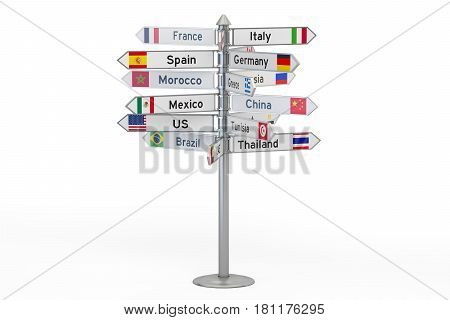 signpost with names of countries 3D rendering isolated on white background