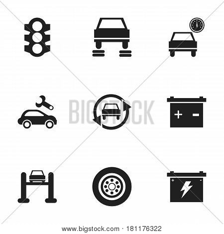 Set Of 9 Editable Transport Icons. Includes Symbols Such As Auto Service, Automotive Fix, Automobile And More. Can Be Used For Web, Mobile, UI And Infographic Design.
