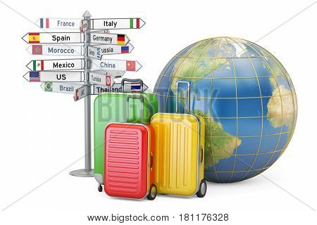 Travel concept. Suitcases signpost and Earth globe 3D rendering