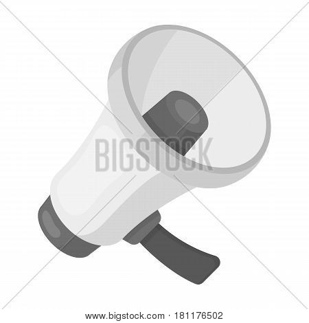 A football fan shout.Fans single icon in monochrome  vector symbol stock illustration.