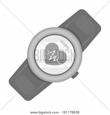 Sports wrist watch with heart rate measurement. Watch for athletes .Gym And Workout single icon in monochrome style vector symbol stock web illustration.
