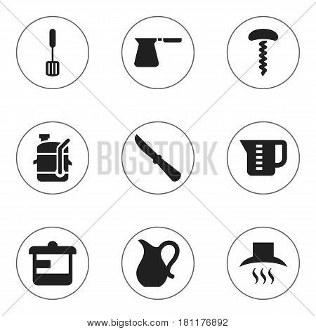Set Of 9 Editable Meal Icons. Includes Symbols Such As Squeezer, Kitchen Blade, Mensural And More. Can Be Used For Web, Mobile, UI And Infographic Design.