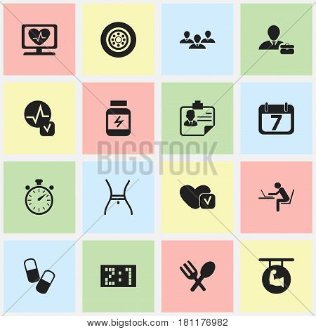 Set Of 16 Editable Complicated Icons. Includes Symbols Such As Chronometer, Programmer, Tire And More. Can Be Used For Web, Mobile, UI And Infographic Design.