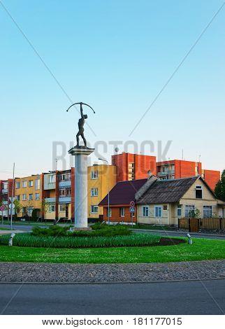 Druskininkai, Lithuania - April 29, 2014: Archer sculpture in Druskininkai Lithuania.