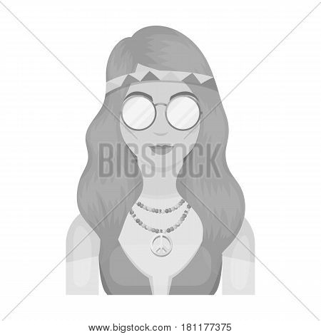 A hippie girl with glasses with beads.Hippy single icon in monochrome style vector symbol stock illustration .