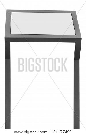Info display stand grey metal rack info board isolated white horizontal framed meny copy space two vertical gray metallic poles poster presentation frame outdoor dispenser promotion marketing concept background