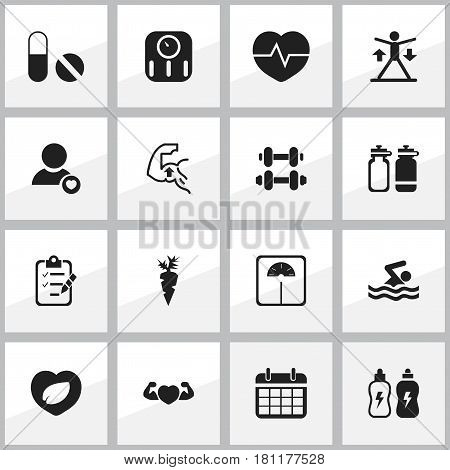 Set Of 16 Editable Lifestyle Icons. Includes Symbols Such As Weight Measurement, Date Plan, Energetic Beverage And More. Can Be Used For Web, Mobile, UI And Infographic Design.