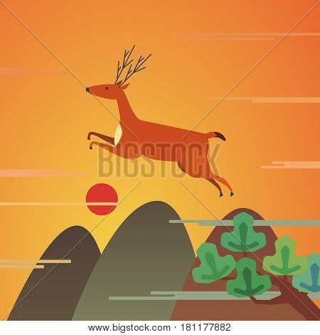 Mountains wildlife landscape. Running rapid deer sign. Freehand drawn cartoon vintage style. Vector illustration of wild deer jumping from mount to valley forest. Red sunrise scene view background