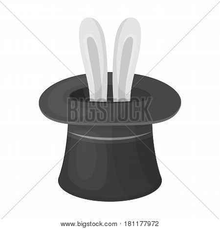 Ears of a hare in a hat. Foci.Party and parties single icon in monochrome style vector symbol stock web illustration.