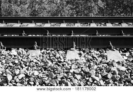 Rail road tracks close up. Black and white.