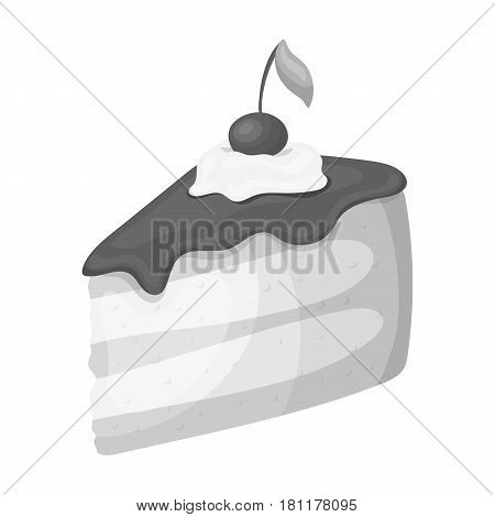 Sweet cake with cherry and leaf.Party and parties single icon in monochrome style vector symbol stock web illustration.
