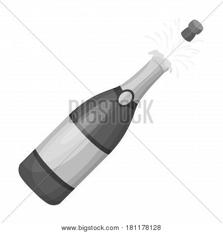 A bottle of champagne with a cork.Party and parties single icon in monochrome style vector symbol stock web illustration.