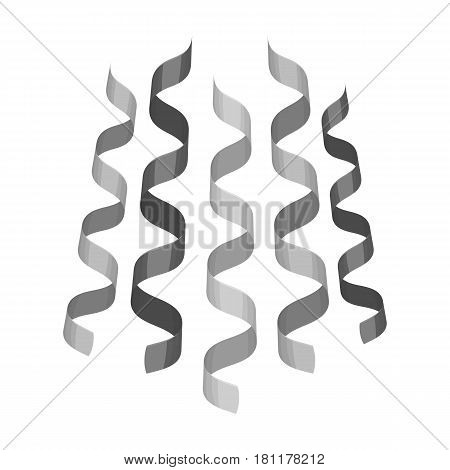 Serpentine, ribbons for the decoration of the party.Party and parties single icon in monochrome style vector symbol stock web illustration.