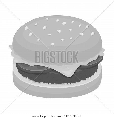 Burger with cutlet and slabom. Bar food with beer. Pub single icon in monochrome style vector symbol stock web illustration.