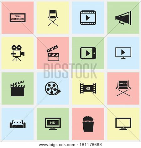 Set Of 16 Editable Filming Icons. Includes Symbols Such As Theater Agency, Shooting Seat, Couch And More. Can Be Used For Web, Mobile, UI And Infographic Design.