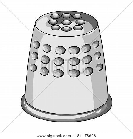 A thimble to protect your fingers when sewing.Sewing or tailoring tools kit single icon in monochrome style vector symbol stock web illustration.