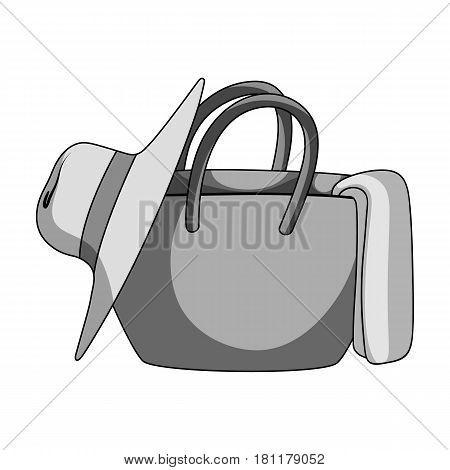 Beach bag with hat.Summer rest single icon in monochrome style vector symbol stock web illustration.