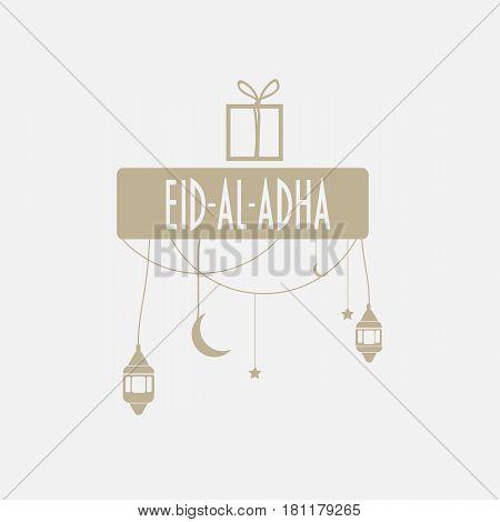 Muslim community festival Eid al Adha Mubarak  greeting card with ramadan lanterns, moon and stars. Sacrifice Feast eid al adha, eid al adha mubarak, eid al adha festival.