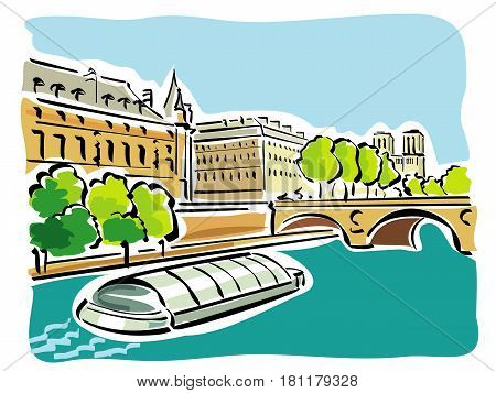 vector illustration of the famous and characteristic boats that sail the Seine river  in Paris, the Bateaux Mouches