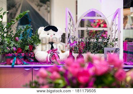 Decorative White Bear In The Interior