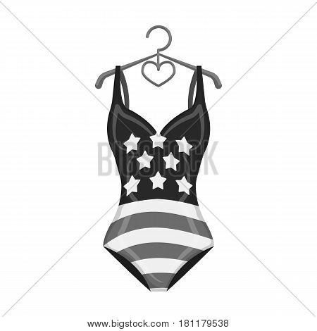 Women swimsuit closed with the flag of America. Swimsuit for the patriots.Swimcuits single icon in monochrome style vector symbol stock web illustration.