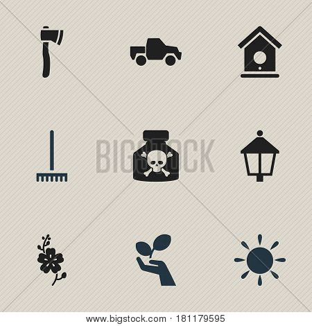 Set Of 9 Editable Gardening Icons. Includes Symbols Such As Tomahawk, Venom, Streetlight And More. Can Be Used For Web, Mobile, UI And Infographic Design.