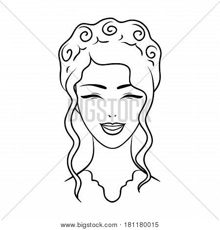 Avatar of a Japanese girl with a hair.Avatar and face single icon in outline style vector symbol stock web illustration.