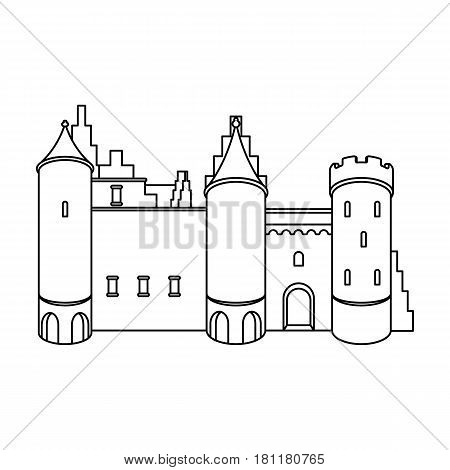 Protective Castle of belgium.The dark Belgian wolf. Belgium single icon in outline style vector symbol stock web illustration.