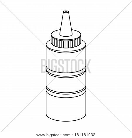 Bottle with mustard.Burgers and ingredients single icon in outline style vector symbol stock web illustration.