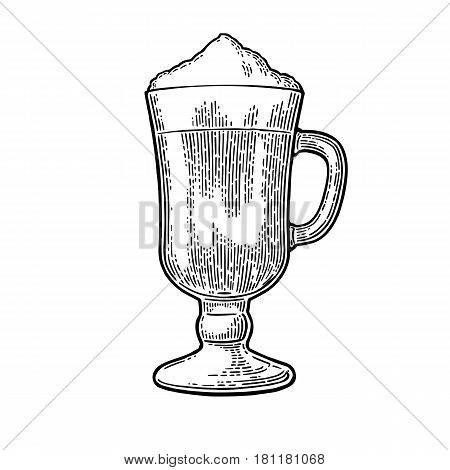 Glass of Latte macchiato coffee with whipped cream. Hand drawn sketch style. Vintage black vector engraving illustration for label web flayer. Isolated on white background