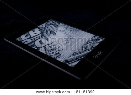 MOSCOW RUSSIA - MARCH 13 2017 E-book kindle paperwhite with a broken screen