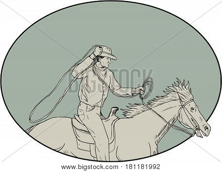 Drawing sketch style illustration of a cowboy holding lasso riding horse viewed from the side set inside oval shape.