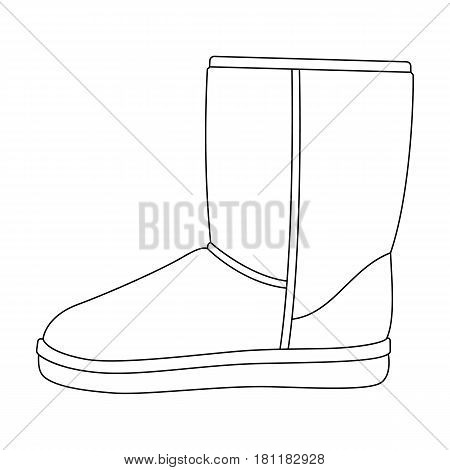 Warm winter blue ugg boots. Comfortable winter shoes for everyday wear .Different shoes single icon in outline style vector symbol stock web illustration.