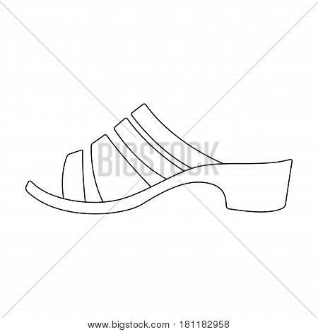 Brown leather women summer heels. Shoes for walking in the Park .Different shoes single icon in outline style vector symbol stock web illustration.