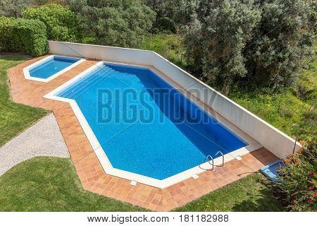 Pool for swimming outdoors. For tourists in summer