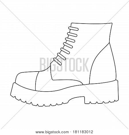 Men brown shoes with thick soles. Shoes for nonconformists.Different shoes single icon in outline style vector symbol stock web illustration.