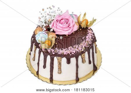 Cake of fruits and flowers roses. For a birthday.
