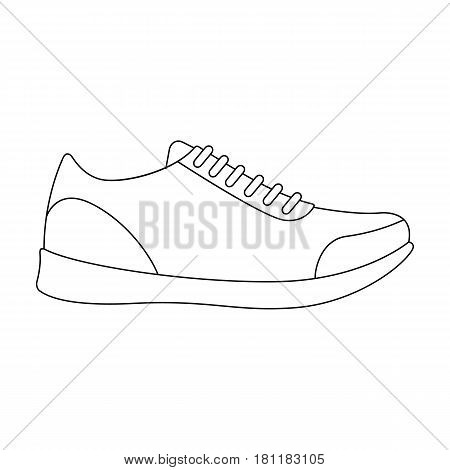 white sneakers unisex lace up. Shoes for sports and daily life.Different shoes single icon in outline style vector symbol stock web illustration.
