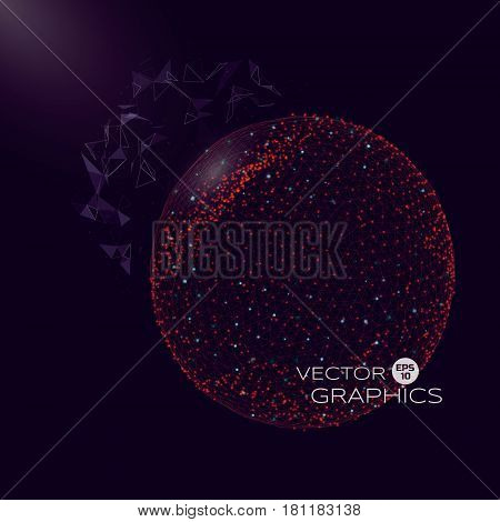 Vector 3d illustration of spherical object in space of micro or macro world. Isolated object consists of wireframe and particles with elements of explosion.