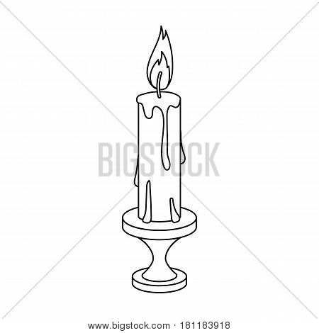 burning candle from paraffin wax. Easter single icon in outline style vector symbol stock web illustration.