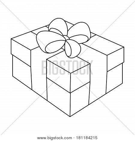 Gift wrapping for Easter. Easter single icon in outline style vector symbol stock web illustration.