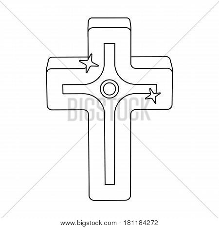 Golden cross. Easter single icon in outline style vector symbol stock web illustration.