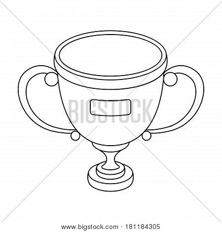 Gold cup of the winner.Fans single icon in outline  vector symbol stock illustration.