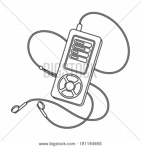 MP player for listening to music during a workout.Gym And Workout single icon in outline style vector symbol stock web illustration.